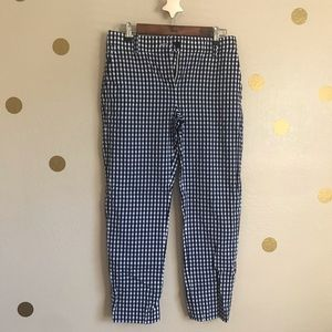 JCrew Blue and White Gingham Pants. XS.